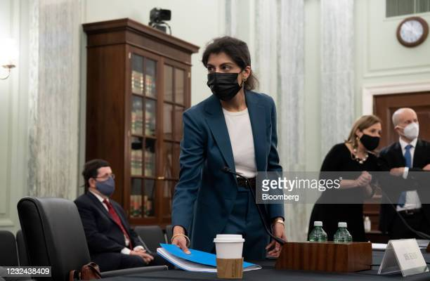 Lina Khan, commissioner of the Federal Trade Commission nominee for U.S. President Joe Biden, arrives for a Senate Commerce, Science and...
