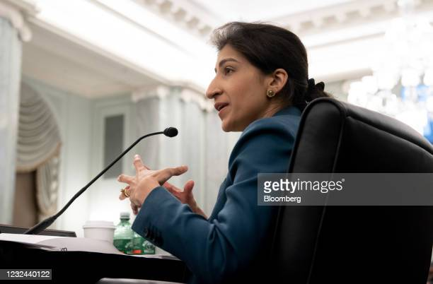 Lina Khan, commissioner of the Federal Trade Commission nominee for U.S. President Joe Biden, speaks during a Senate Commerce, Science and...