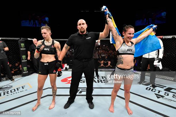 Lina Lansberg of Sweden celebrates her victory over Macy Chiasson in their women's bantamweight bout during the UFC Fight Night event at Royal Arena...