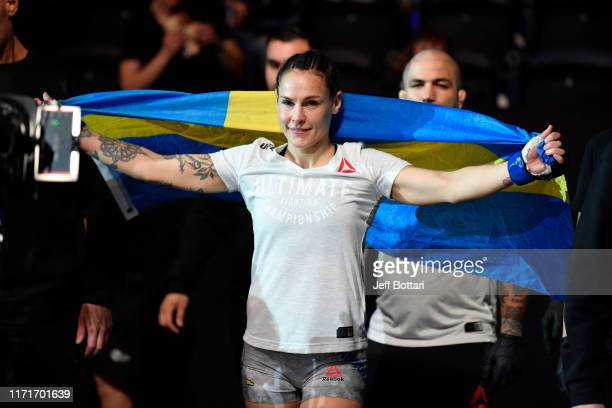Lina Lansberg of Sweden prepares to enter the Octagon prior to her women's bantamweight bout against Macy Chiasson during the UFC Fight Night event...