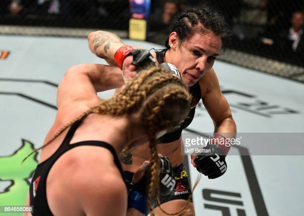 Lina Lansberg of Sweden punches Aspen Ladd in their women's bantamweight bout during the UFC Fight Night event inside Ergo Arena on October 21 2017...