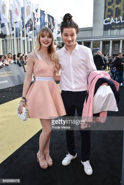 Lina Larissa Strahl and her boyfriend Tilman Poerzgen arrive at the Echo Award 2018 at Messe Berlin on April 12 2018 in Berlin Germany