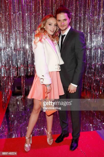 Lina Larissa Strahl and her boyfriend Tilman Poerzgen attend the Ein Herz Fuer Kinder Gala reception at Studio Berlin Adlershof on December 9 2017 in...