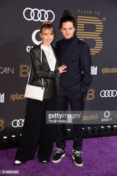 Lina Larissa Strahl and her boyfriend Tilman Poerzgen attend the PLACE TO B Party on February 17 2018 in Berlin Germany