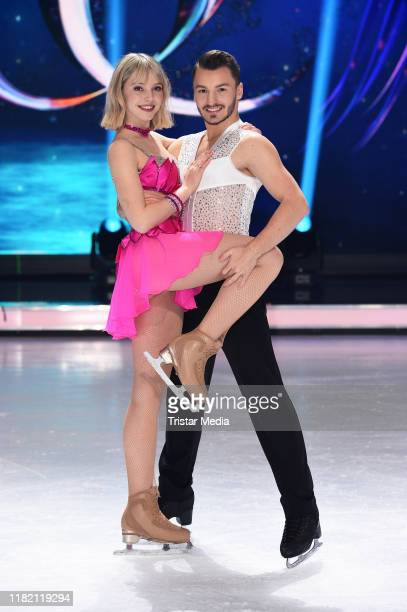 Lina Larissa Strahl and Joti Polizoakis attend a photocall for german SAT1 TV show 'Dancing on ice' at MMC studios on November 13 2019 in Cologne...