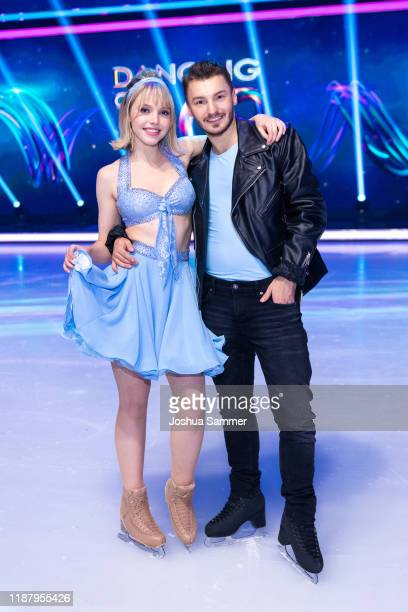Lina Larissa Strahl and Joti Polizoakis during the 1st live show of the new dance competition television series Dancing on Ice at MMC Studios on...