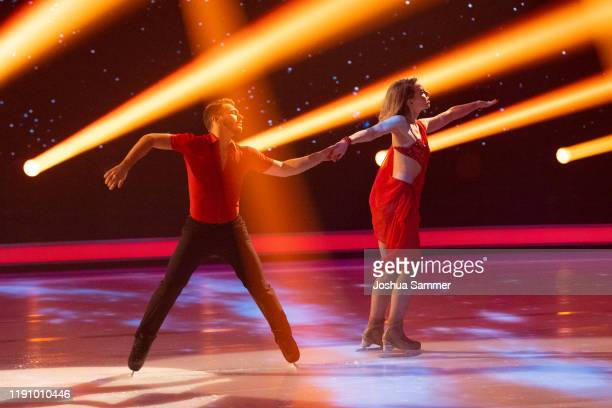 Lina Larissa Strahl and Joti Polizoakis perform during the 4th show of the TVSeries Dancing on Ice on November 29 2019 in Cologne Germany