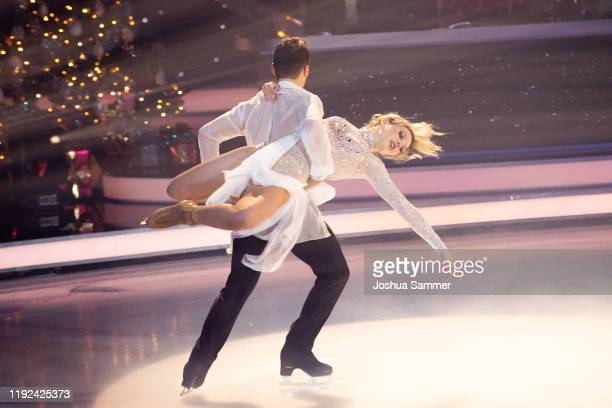 Lina Larissa Strahl and Joti Polizoakis perform during the 5th show of the TV series Dancing on Ice on December 06 2019 in Cologne Germany