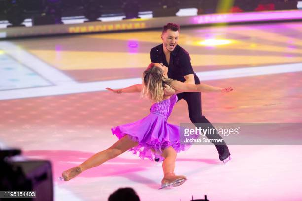 Lina Larissa Strahl and Joti Polizoakis perform during the finals of the television show Dancing On Ice on December 20 2019 in Cologne Germany