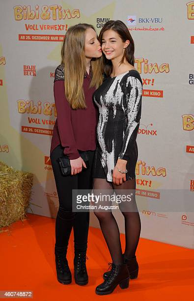 Lina Larissa Strahl and LisaMarie Koroll attend the Hamburg premiere of the film 'Bibi Tina Voll verhext' at Cinemaxx on December 21 2014 in Hamburg...