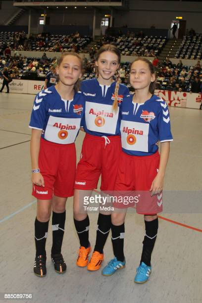 Lina Larissa Strahl and the twins Rosa Meinecke and Laila Meinecke during 'Kicken Mit Herz' on December 3 2017 in Hamburg Germany