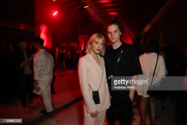 Lina Larissa Strahl and Tilman Poerzgen attend the HUGO Launch Party with live performance by Liam Payne at Wriezener Karree on July 03, 2019 in...
