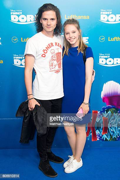 Lina Larissa Strahl and Tilman Poerzgen during the German premiere of the film 'Finding Dory' at Zoo Palast on September 15 2016 in Berlin Germany