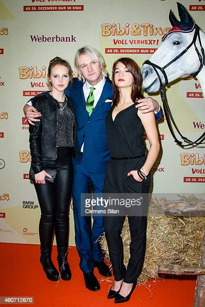 Lina Larissa Strahl, Detlev Buck and Lisa-Marie Koroll attend the Berlin premiere of the film 'Bibi & Tina - Voll verhext!' at Zoo Palast on December...
