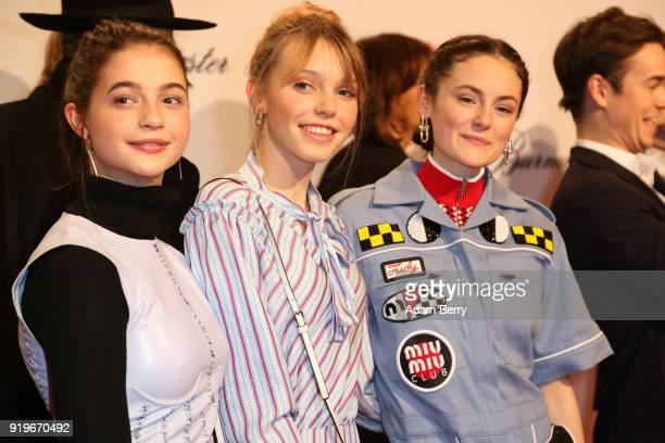 Lina Larissa Strahl LisaMarie Koroll and Lea van Aacken attend the Medienboard BerlinBrandenburg Arrivals during the 68th Berlinale International...