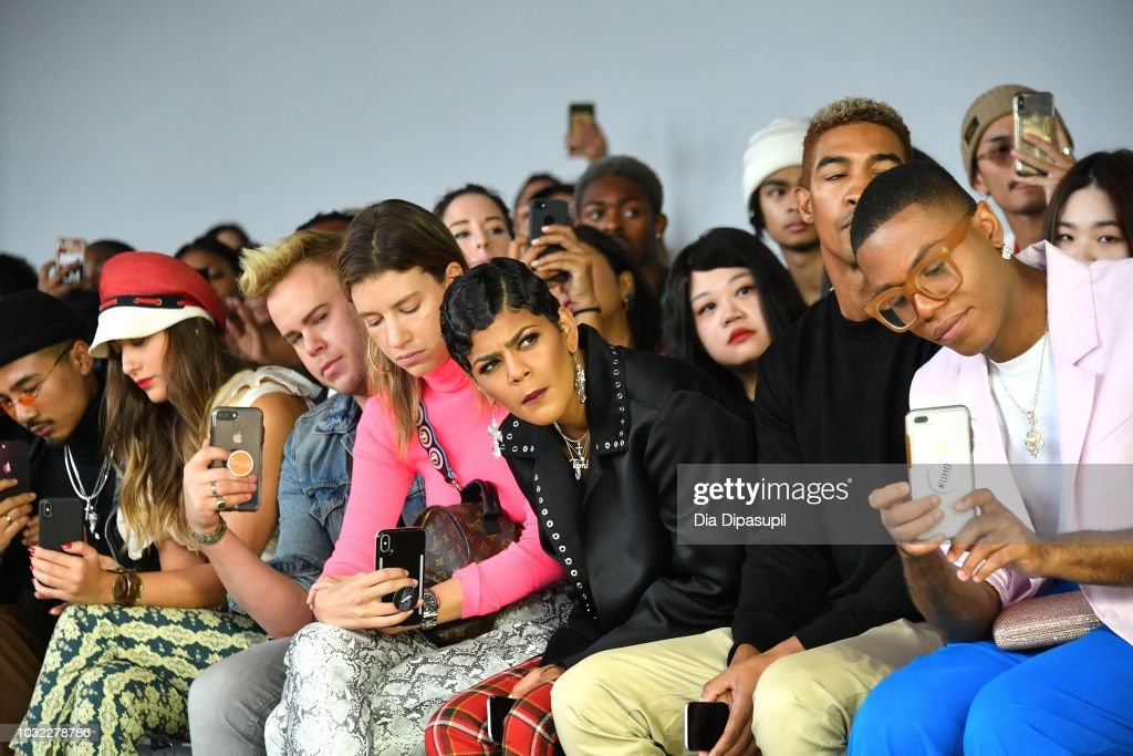 Lina Lindholm, Werner Andrew, Toni Romiti and Wendell Lissimore attend the Marcel Ostertag front Row during New York Fashion Week: The Shows at Gallery II at Spring Studios on September 12, 2018 in New York City.