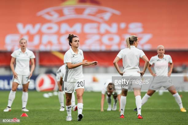 Lina Magull and team of Germany warms up prior the UEFA Women's Euro 2017 at Koning Willem II Stadium on July 21 2017 in Tilburg Netherlands