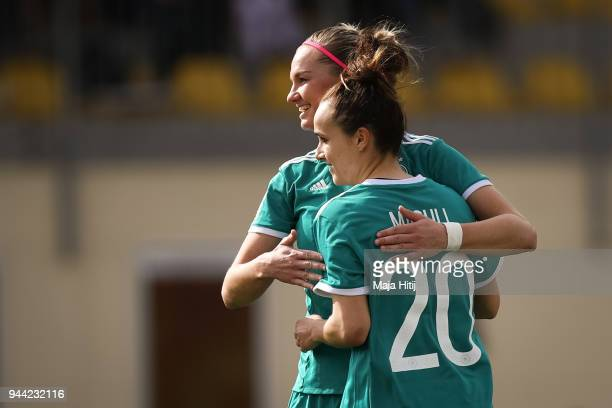 Lina Magull of Germany celebrates with Alexandra Popp after scoring a goal to make it 01 during Slovenia Women's and Germany Women's 2019 FIFA...