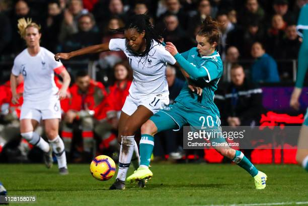 Lina Magull of Germany challenges MarieAntoinette Katoto of France during the International Friendly game between France and Germany at Stade Francis...