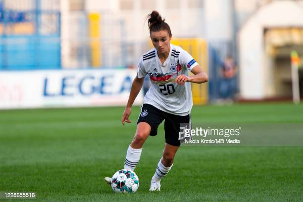 Lina Magull of Germany comes forward on the ball during the UEFA Women's EURO 2022 Qualifier match between Montenegro and Germany at Pod Goricom on...