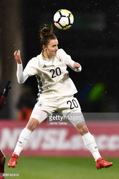 Lina Magull of Germany controls the ball against the US National Team on March 1 2018 at MAPFRE Stadium in Columbus Ohio The United States defeated...