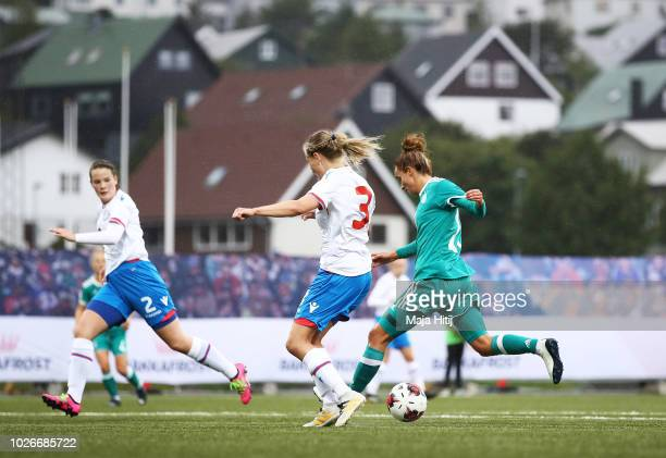 Lina Magull of Germany scores a goal during the Faeroe Islands Women's v Germany Women's 2019 FIFA Women's World Championship Qualifier match on...