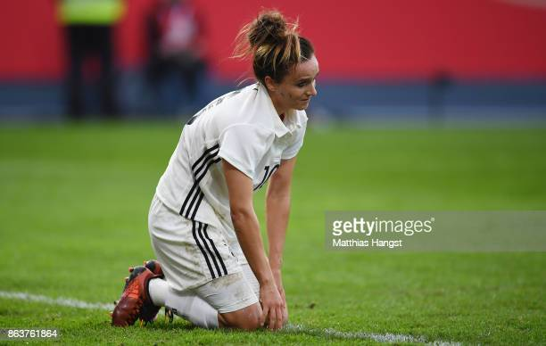 Lina Magull of Germany shows her disappointment during the 2019 FIFA Women's World Championship Qualifier match between Germany and Iceland at...