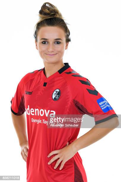 Lina Magull of SC Freiburg poses during the Allianz Frauen Bundesliga Club Tour at Elbigenalp on August 21 2017 in Elbigenalp Austria