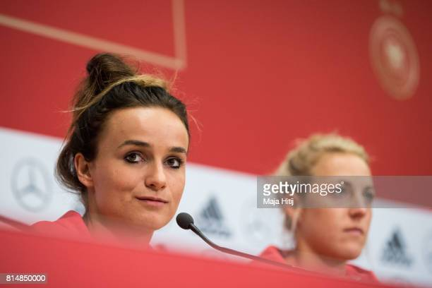 'SHERTOGENBOSCH NETHERLANDS JULY 15 Lina Magull speaks during a press conference of a Germany Women's team next to Carolin Simon on July 15 2017 in...