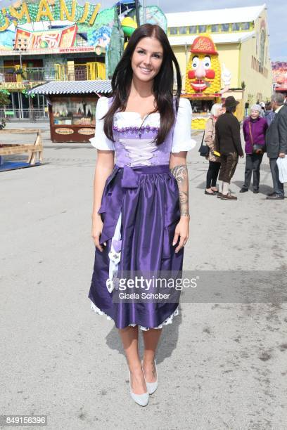 Lina Meyer girlfriend of FC Bayern soccer player Josua Kimmich wearing a dirndl by Schatzi Dirndl during the 'Schatzi Wiesn' during the Oktoberfest...