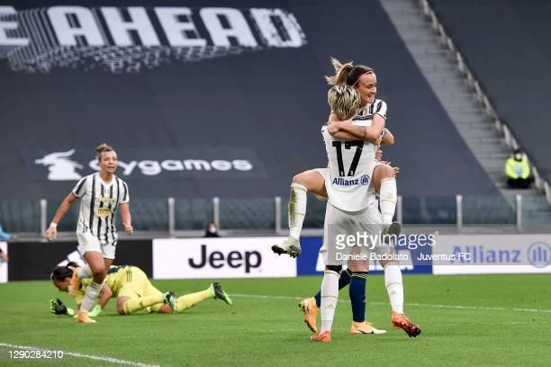 Lina Mona Andrea Hurtig of Juventus Women celebrates after scoring her team's second goal with teammate Barbara Bonansea during the UEFA Women's...