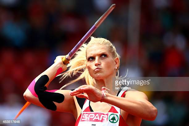 Lina Muze of Latvia competes in the Women's Javelin qualification during day one of the 22nd European Athletics Championships at Stadium Letzigrund...