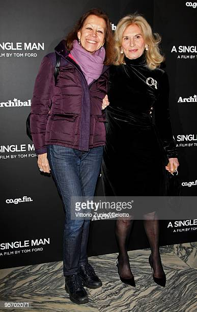 Lina Sotis and Vania Traxler Protti attend 'A Single Man' Milan Premiere on January 11 2010 in Milan Italy