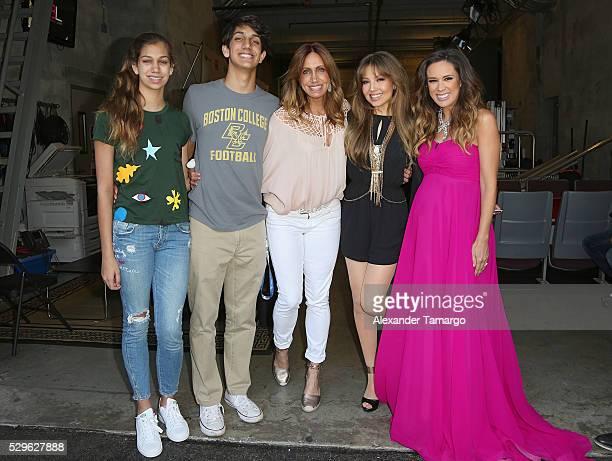 Lina Teresa Luaces Lorenzo Luaces Jr Lili Estefan Thalia and Jackie Bracamonte are seen backstage at Nuestra Belleza Latina at Univision Studios on...