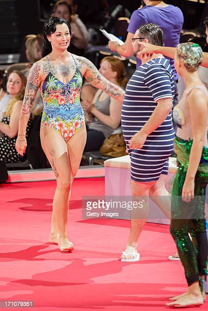Lina van de Mars Thomas Drechsel and Caroline Noeding attend he 1st live show of 'Pool Champions' on June 21 2013 in Berlin Germany