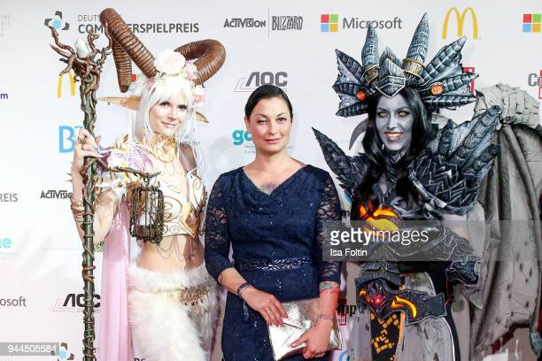 Lina van de Mars with cosplayer during the German Computer Games Award 2018 at Kesselhaus on April 10 2018 in Munich Germany