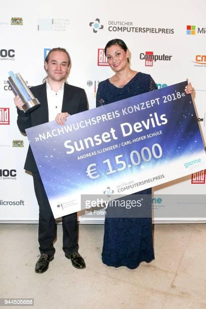 Lina van de Mars with the award winner 'Nachwuchspreis Konzept' during the German Computer Games Award 2018 at Kesselhaus on April 10 2018 in Munich...