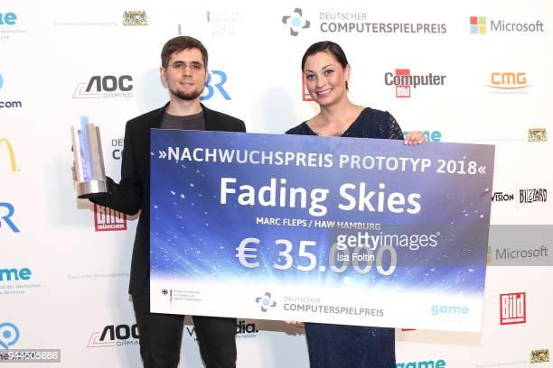 Lina van de Mars with the award winner 'Nachwuchspreis Prototyp' during the German Computer Games Award 2018 at Kesselhaus on April 10 2018 in Munich...