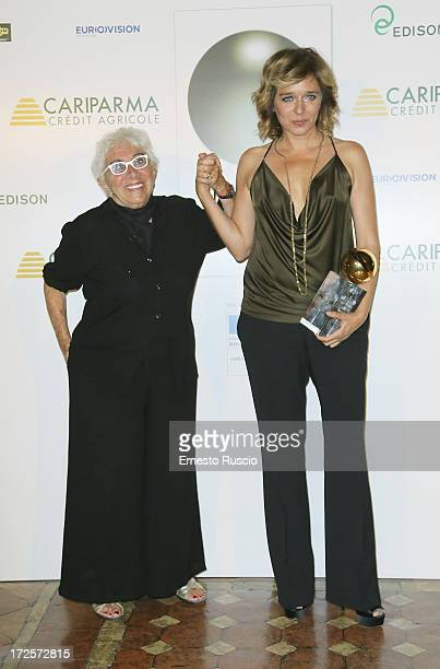 Lina Wertmuller and Valeria Golino attend the Globo D'Oro Awards at Palazzo Farnese on July 3 2013 in Rome Italy