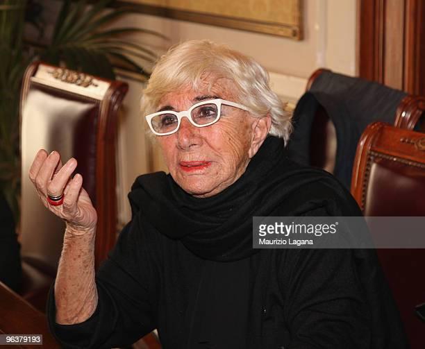 Lina Wertmuller attends a press conference at Palazzo San Giorgio during Reggio Calabria FilmFest on February 3 2010 in Reggio Calabria Italy