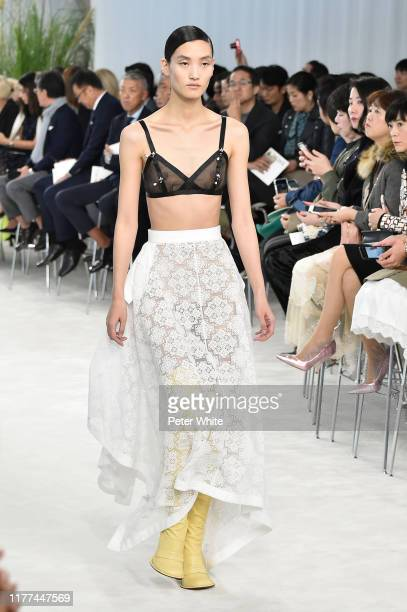Lina Zhang walks the runway during the Loewe Womenswear Spring/Summer 2020 show as part of Paris Fashion Week on September 27, 2019 in Paris, France.