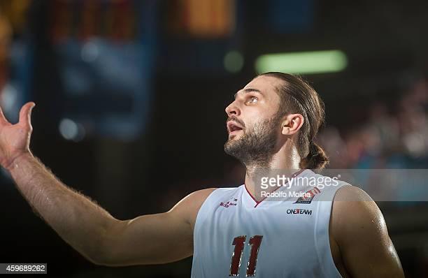 Linas Kleiza #11 of EA7 Emporio Armani Milan in action during the 20142015 Turkish Airlines Euroleague Basketball Regular Season Date 7 game between...