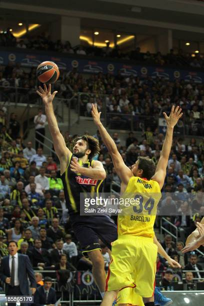 Linas Kleiza of Fenerbahce Ulker competes with Bostjan Nachbar of FC Barcelona during the 20132014 Turkish Airlines Euroleague Regular Season Date 2...