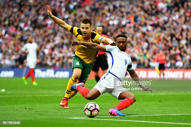 Linas Klimavicius of Lithuania fouls Jermaine Defoe of England during the FIFA 2018 World Cup Qualifier between England and Lithuania at Wembley...