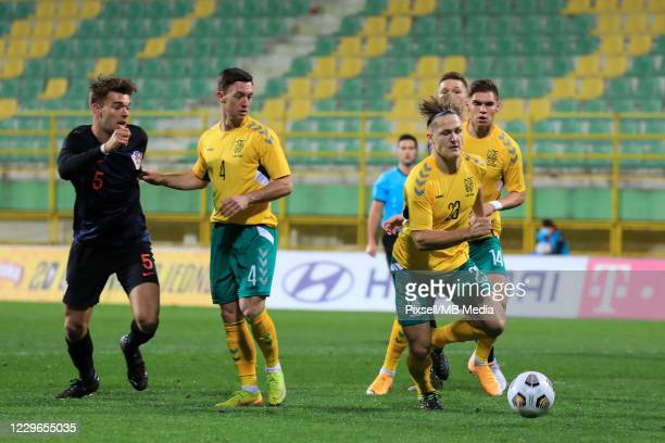 Linas Megelaitis of Lithuania controls the ball during the UEFA Euro Under 21 Qualifier match between Croatia U21 and Lithuania U21 at Stadium Aldo...