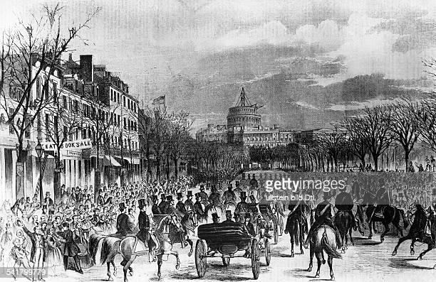 Lincoln Abraham *1202180915041865Politiker USA16 Praesident der USA faehrt in einer Kutsche durch Washingtonzu seiner Antrittsrede als neuer...