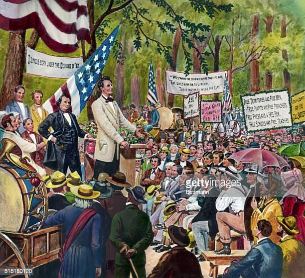 Lincoln at the LincolnDouglas debate 1858Undated image