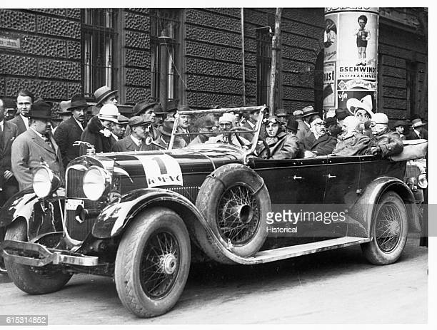 A Lincoln car and its driver are prepared for the Parad Race in Budapest Hungary