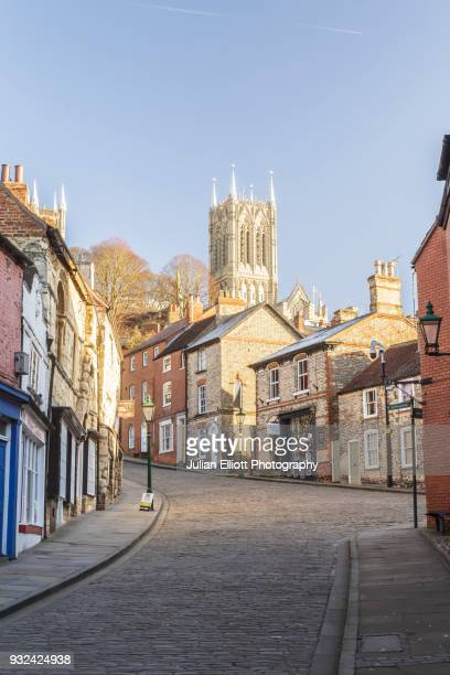 Lincoln cathedral and Steep Hill in England, UK.