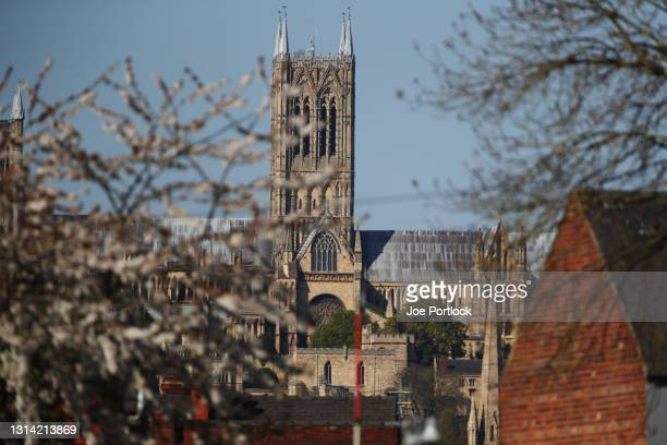 Lincoln Cathedral seen from the LNER stadium during the Sky Bet League One match between Lincoln City and Hull City at Sincil Bank Stadium on April...